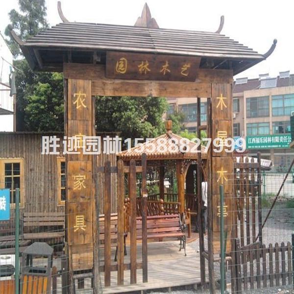 景区防腐木复古门