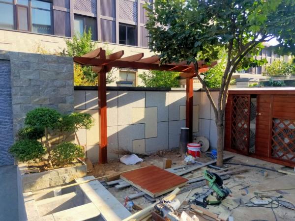 防腐木花架走廊